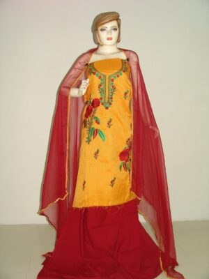 FULL PATIALA 100% cotton Salwar Suit PURE CHIFFON Dupatta RM154