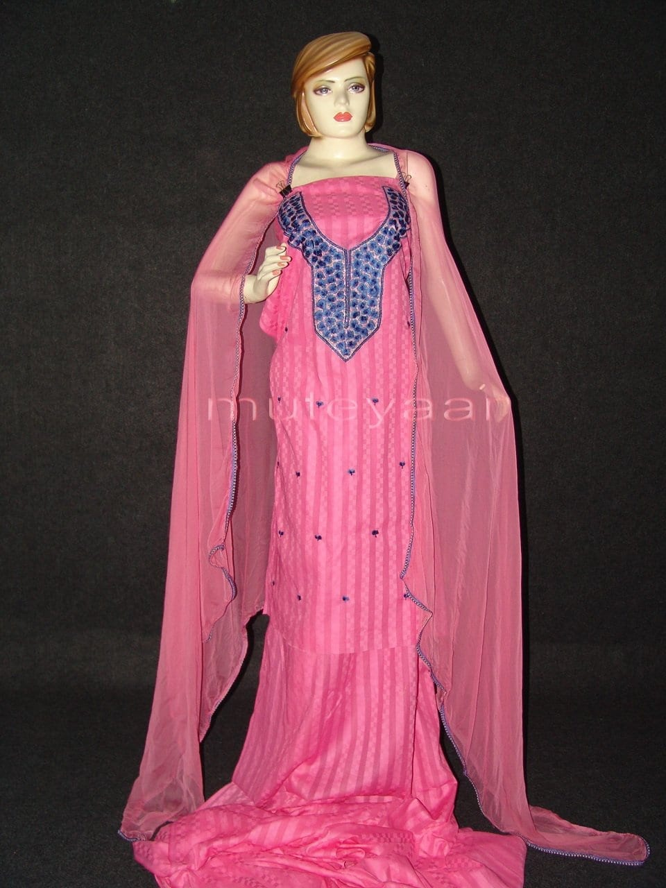 Self Print Pure Cotton embr Salwar Suit Chiffon Dupatta RM173 1