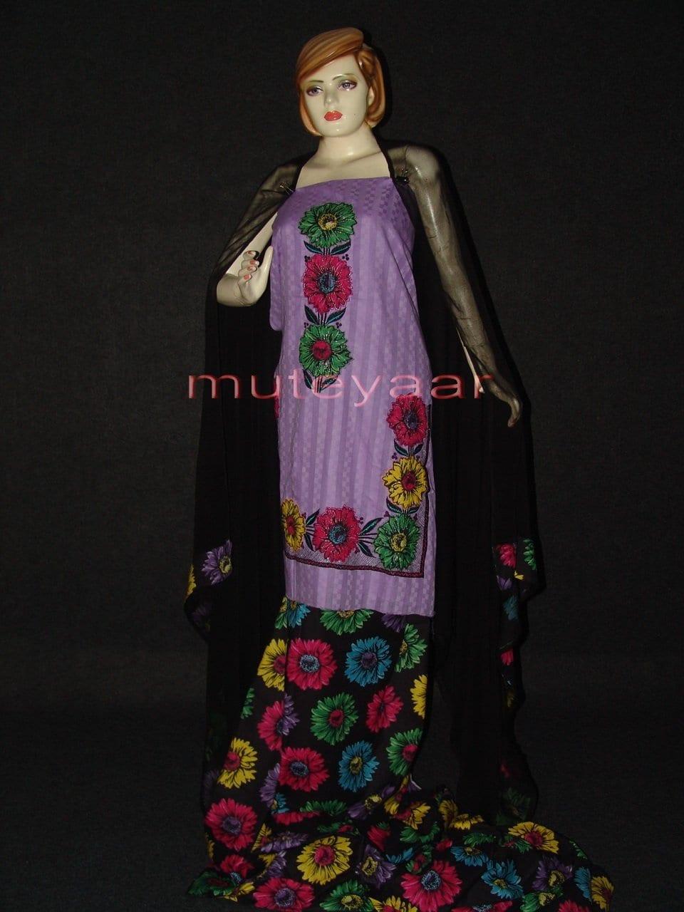 Pure Cotton FULL Patiala Salwar embr  Suit Chiffon Dupatta RM174 1