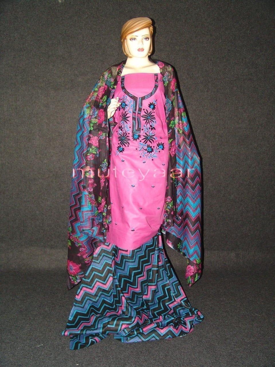 Pure Cotton FULL Patiala Salwar embr  Suit Cotton Dupatta RM194 1