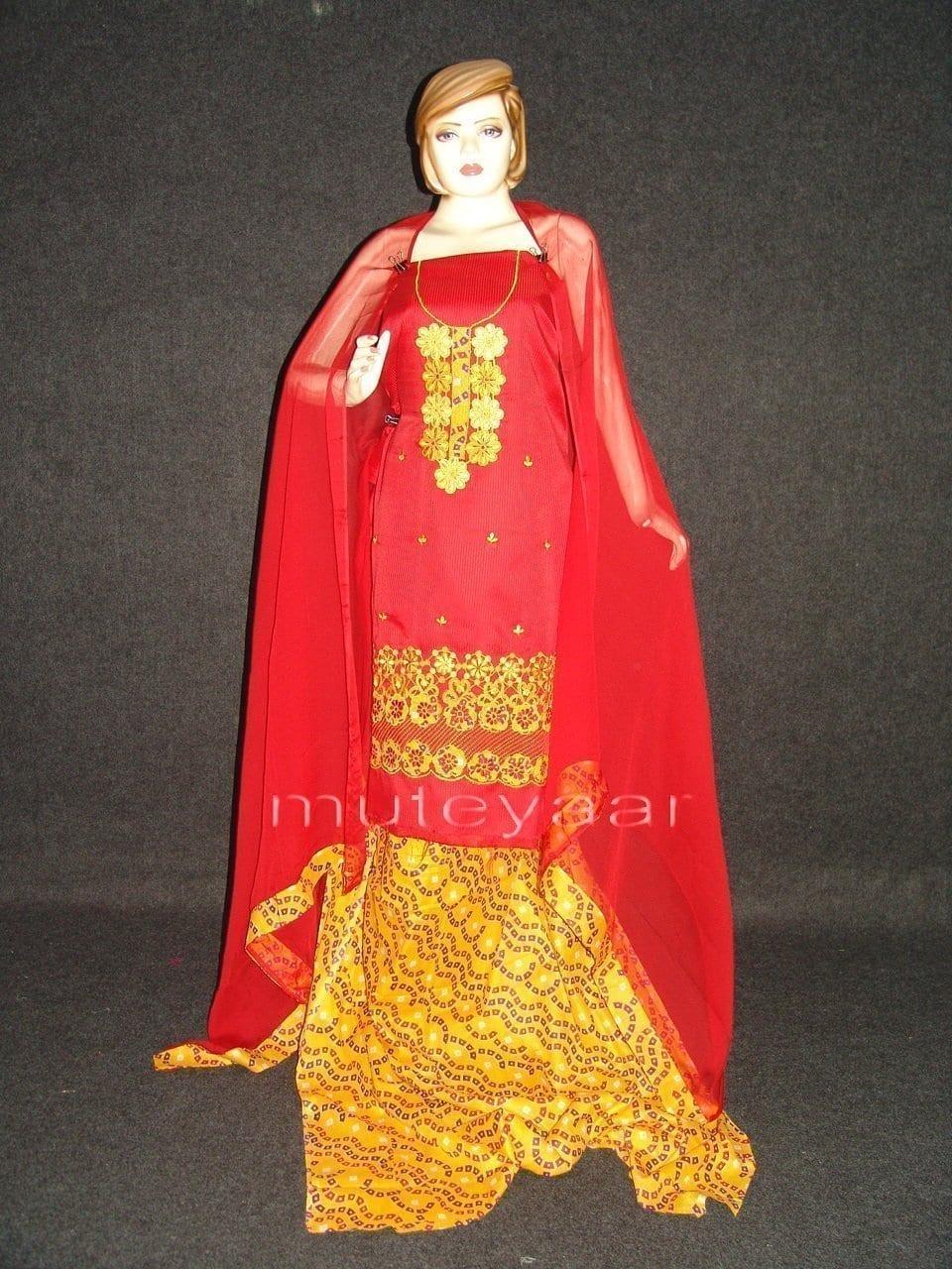 FULL PATIALA Salwar embr cotton Suit PURE CHIFFON Dupatta RM201 1