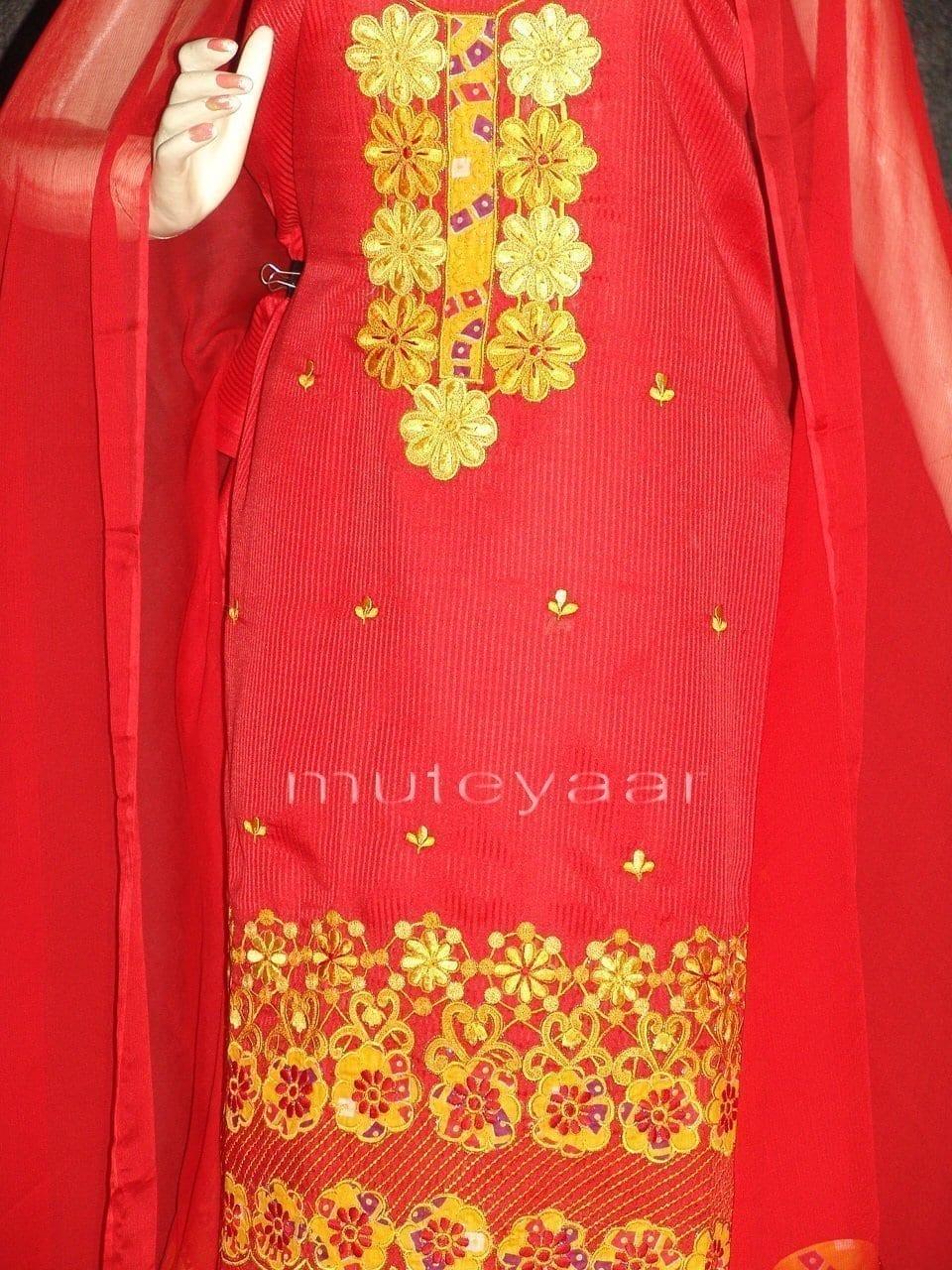 FULL PATIALA Salwar embr cotton Suit PURE CHIFFON Dupatta RM201 2