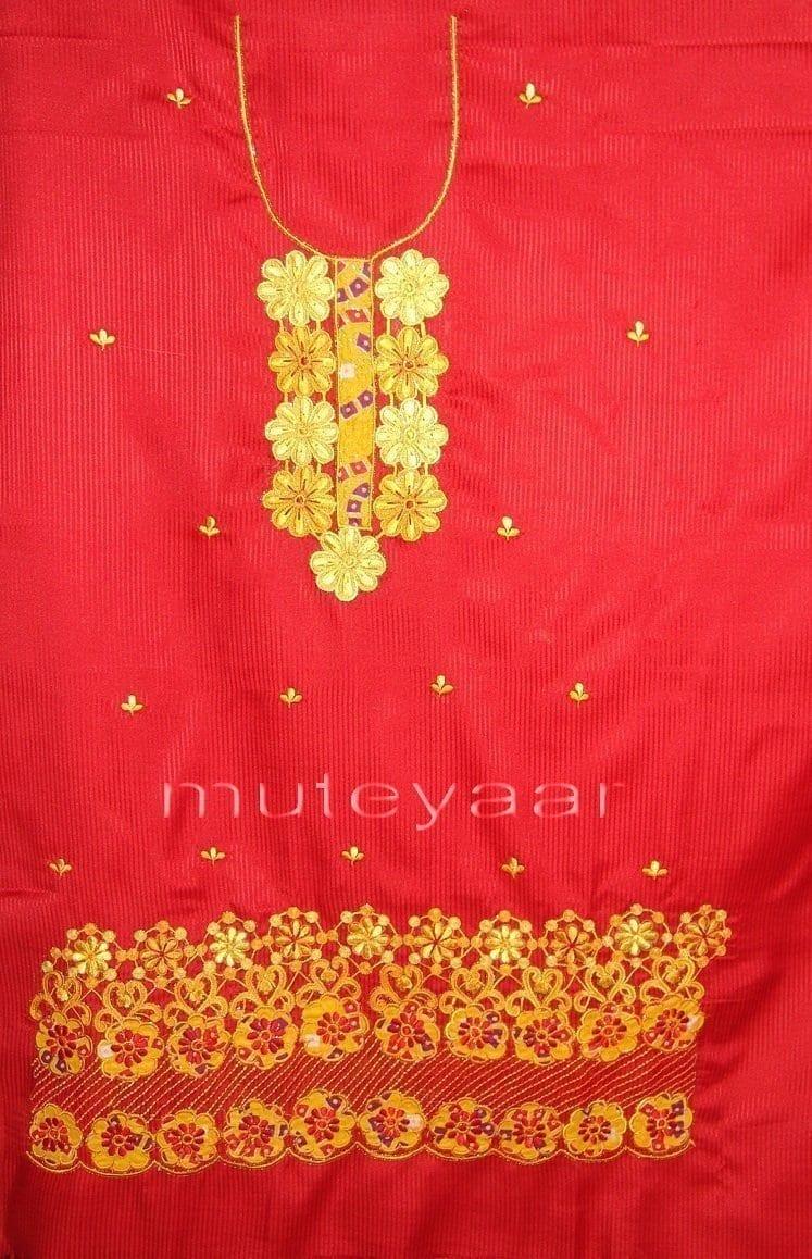 FULL PATIALA Salwar embr cotton Suit PURE CHIFFON Dupatta RM201 3