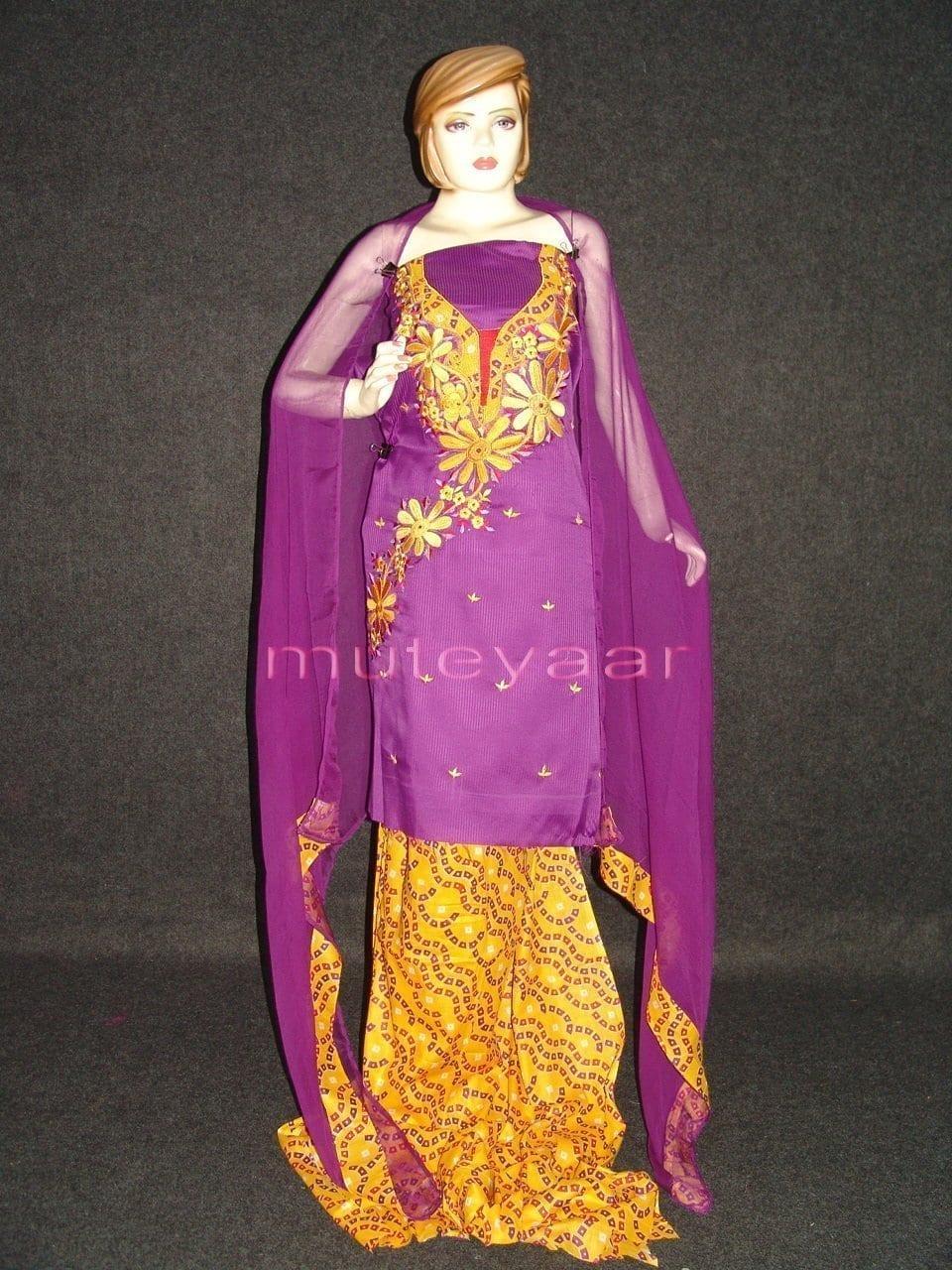 FULL PATIALA Salwar embr cotton Suit PURE CHIFFON Dupatta RM205 1