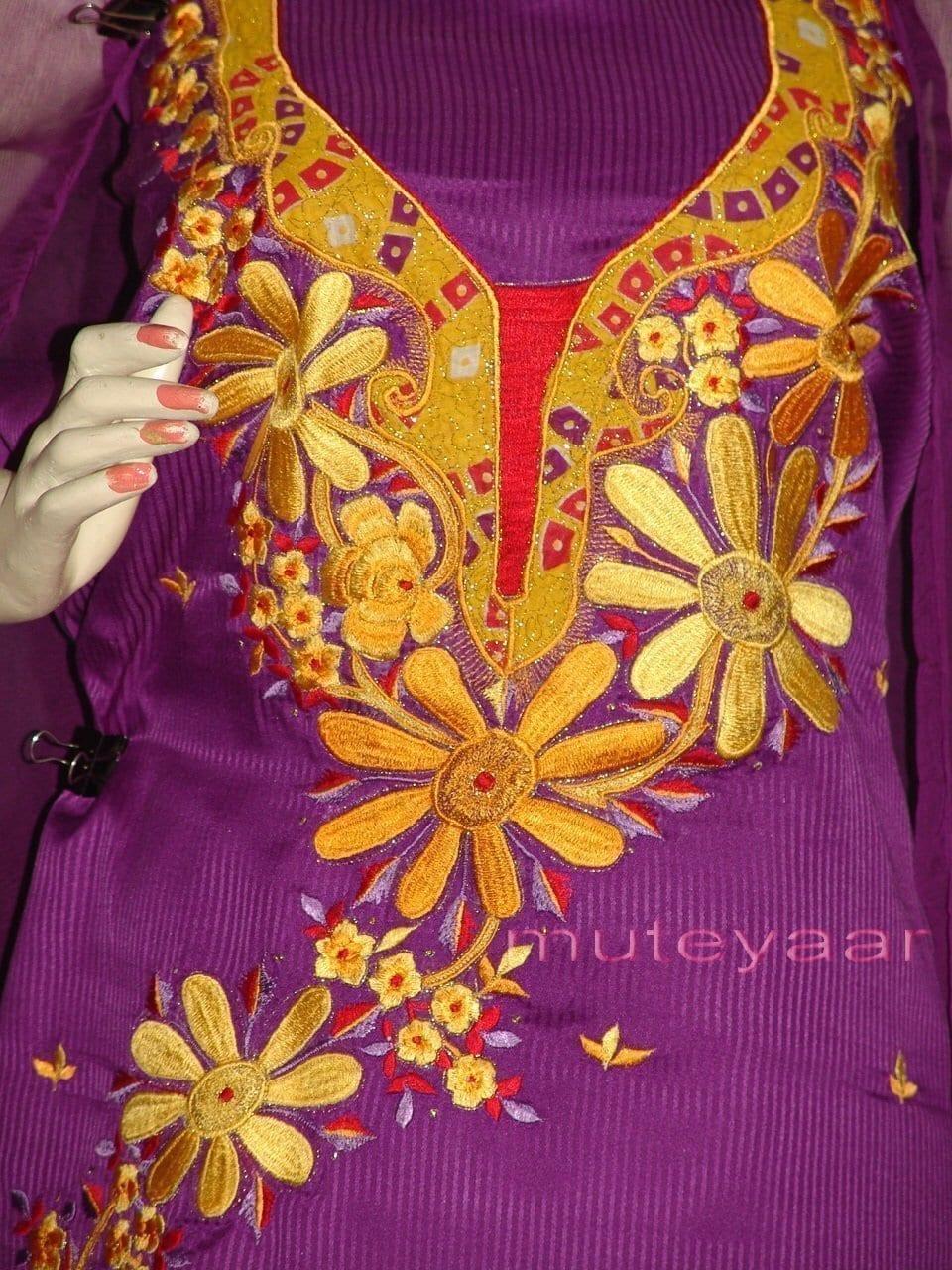 FULL PATIALA Salwar embr cotton Suit PURE CHIFFON Dupatta RM205 2