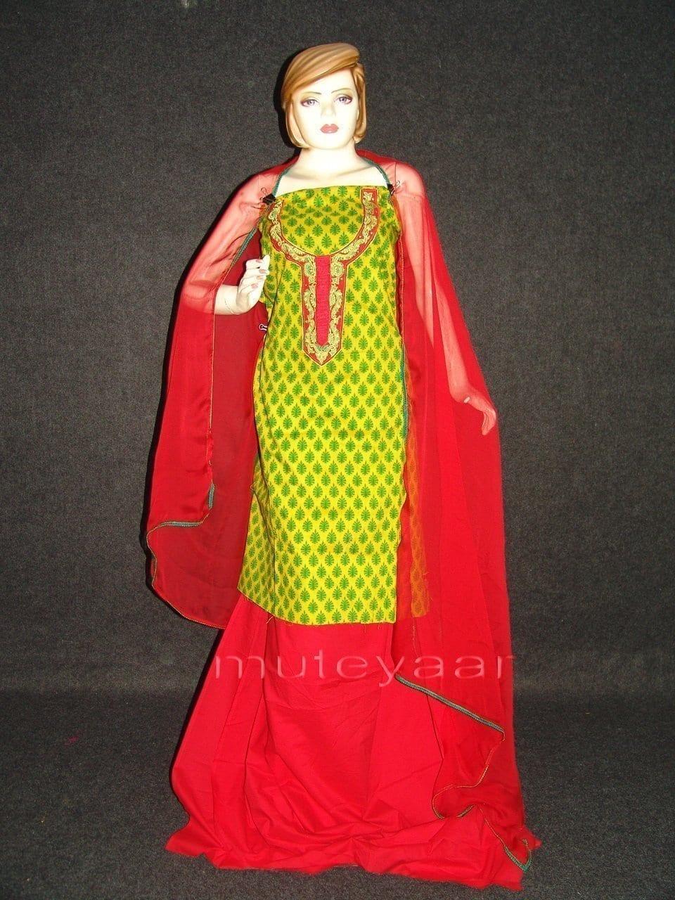 FULL PATIALA Salwar embr cotton Suit PURE CHIFFON Dupatta RM213 1