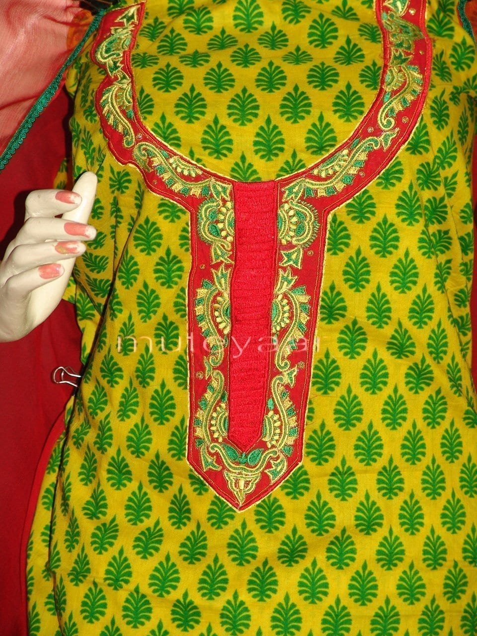 FULL PATIALA Salwar embr cotton Suit PURE CHIFFON Dupatta RM213 2