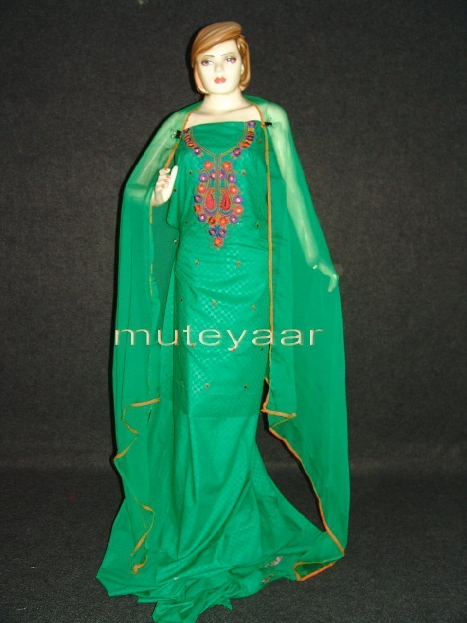 LONG embr SLEEVES Salwar Suit PURE CHIFFON Dupatta RM214 1