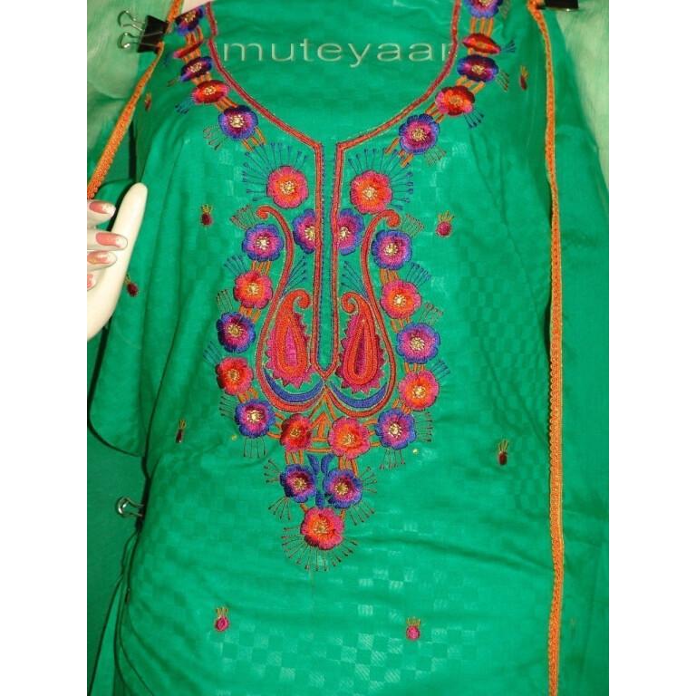 LONG embr SLEEVES Salwar Suit PURE CHIFFON Dupatta RM214