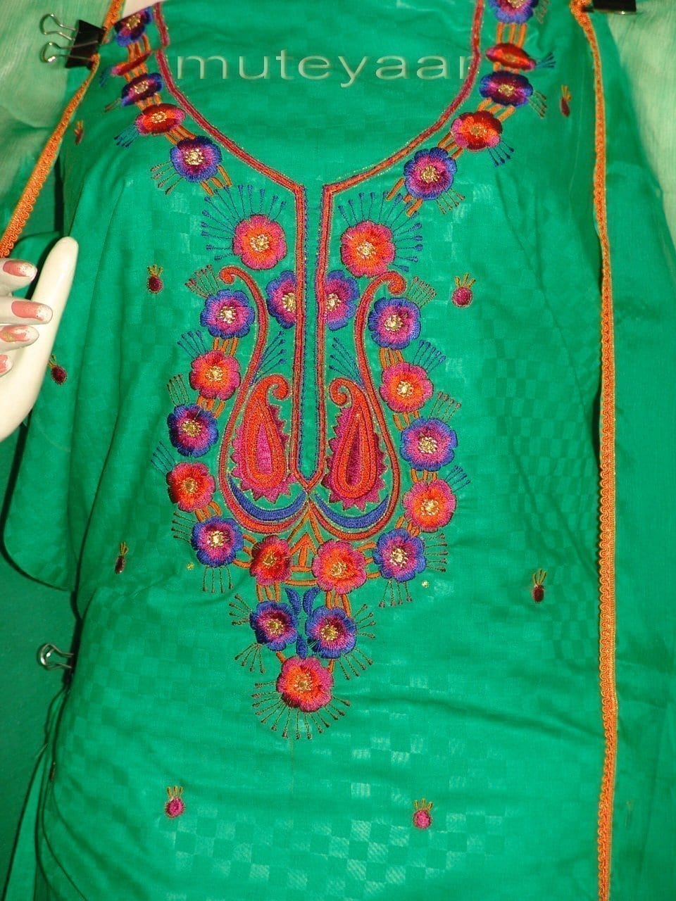 LONG embr SLEEVES Salwar Suit PURE CHIFFON Dupatta RM214 2