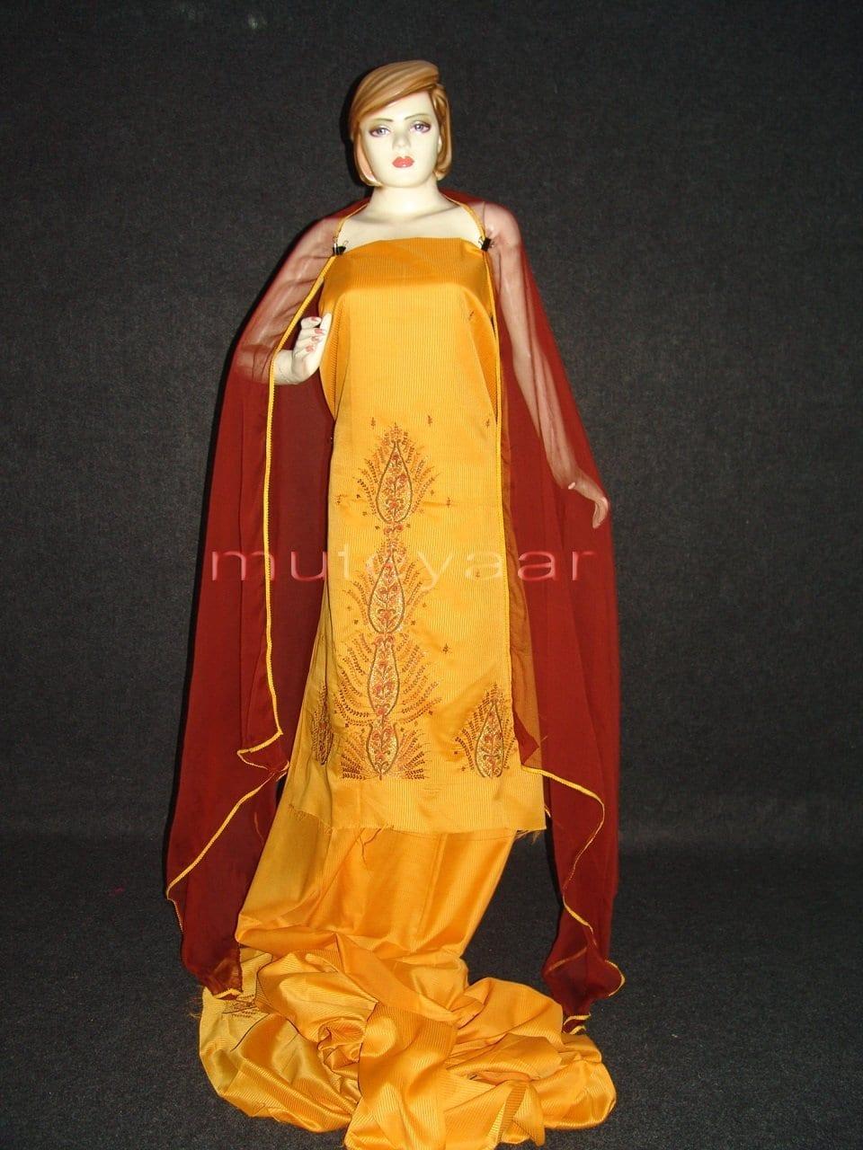 Pure Cotton Embroidered Salwar Suit PURE CHIFFON Dupatta RM217 1
