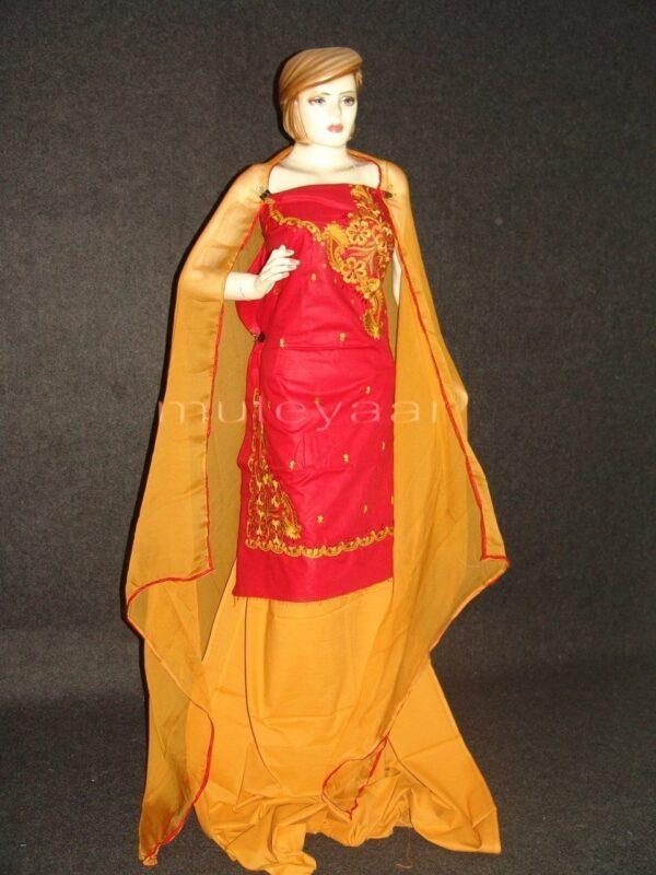 FULL PATIALA 100% cotton Salwar Suit PURE CHIFFON Dupatta RM235