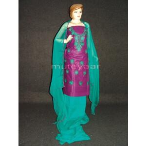 FULL PATIALA 100% cotton Salwar Suit PURE CHIFFON Dupatta RM237