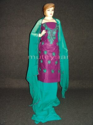 FULL PATIALA 100% cotton Salwar Suit PURE CHIFFON Dupatta RM237