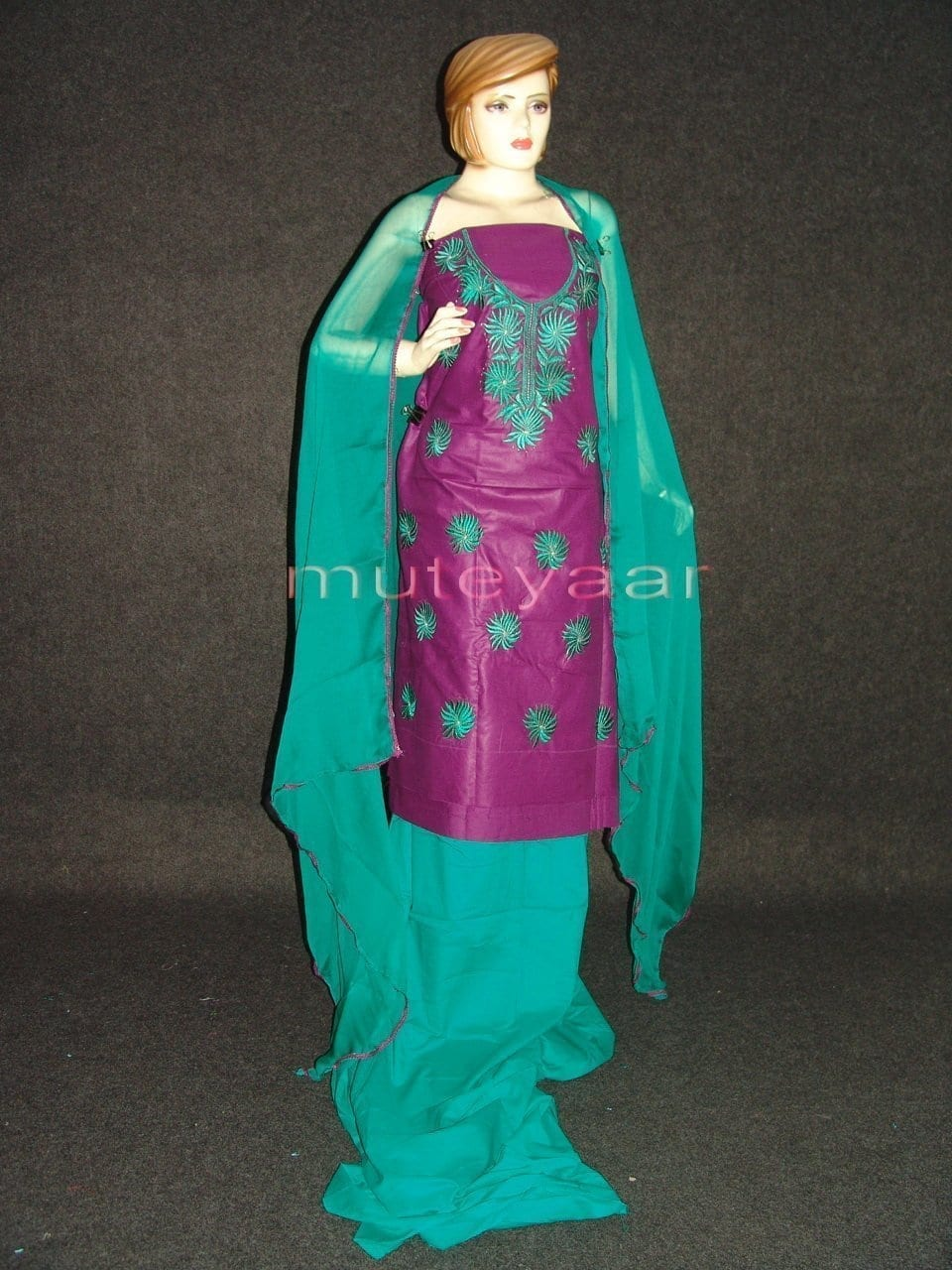 FULL PATIALA 100% cotton Salwar Suit PURE CHIFFON Dupatta RM237 1