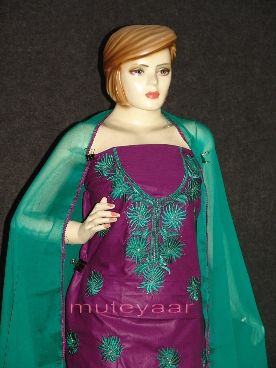 FULL PATIALA 100% cotton Salwar Suit PURE CHIFFON Dupatta RM237 2