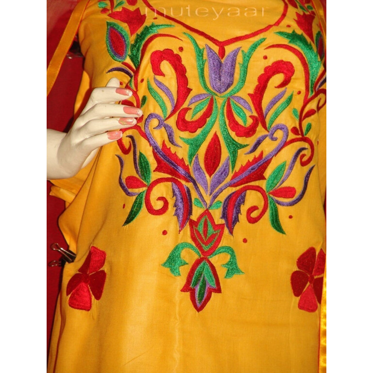 Thread Embroidered Cotton Salwar Suit PURE CHIFFON Dupatta RM243