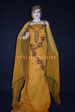Thread Embroidered100% cotton Salwar Suit PURE CHIFFON Dupatta RM260