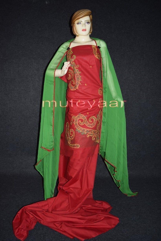 Thread Embroidered Cotton FULL Patiala Salwar Suit PURE CHIFFON Dupatta RM261 1