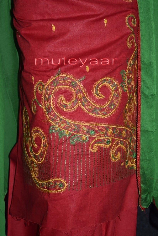 Thread Embroidered Cotton FULL Patiala Salwar Suit PURE CHIFFON Dupatta RM261 2