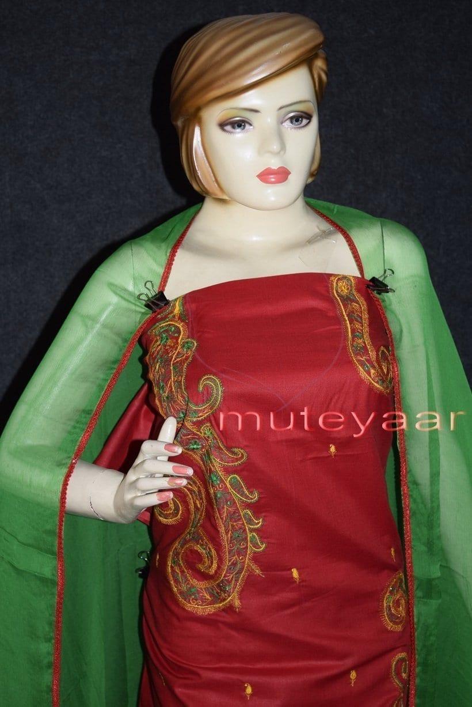 Thread Embroidered Cotton FULL Patiala Salwar Suit PURE CHIFFON Dupatta RM261 3