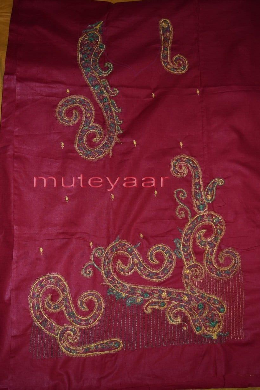 Thread Embroidered Cotton FULL Patiala Salwar Suit PURE CHIFFON Dupatta RM261 4