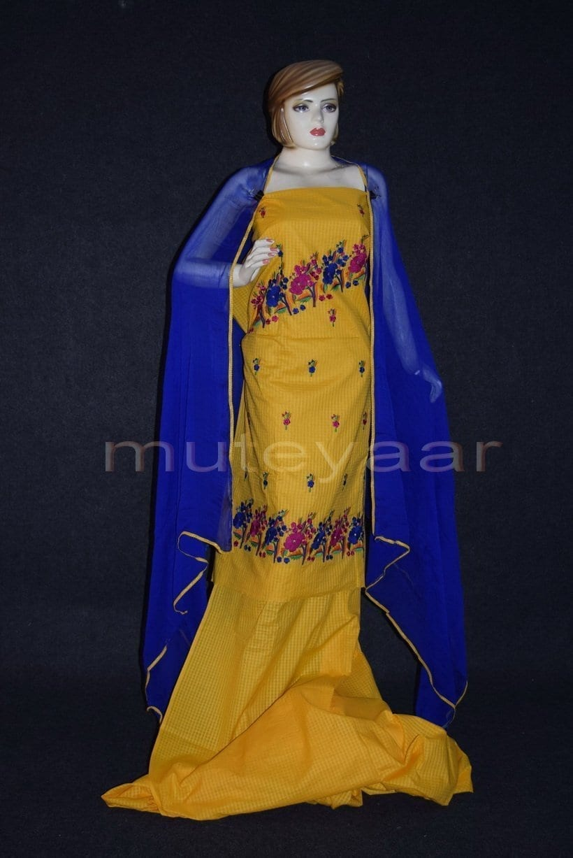 Thread Embroidered100% cotton Salwar Suit PURE CHIFFON Dupatta RM262 1