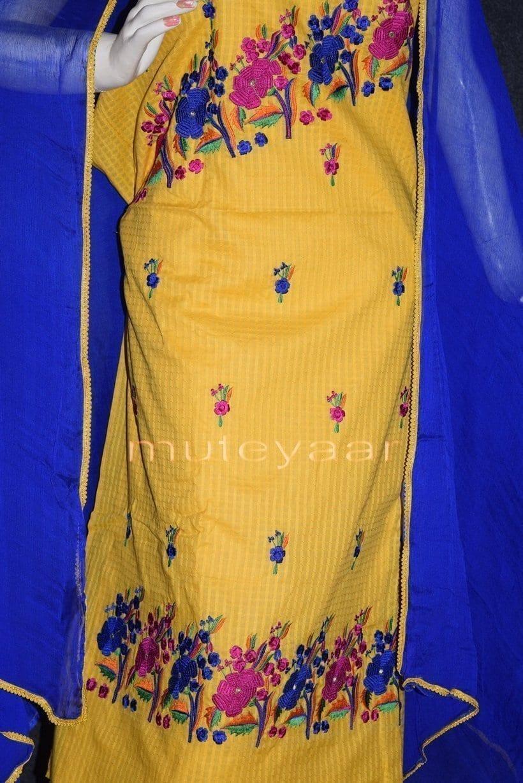 Thread Embroidered100% cotton Salwar Suit PURE CHIFFON Dupatta RM262 2