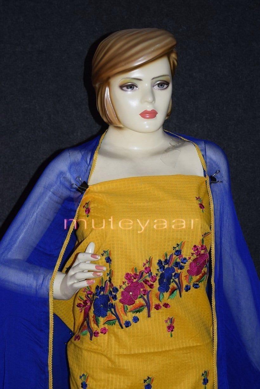 Thread Embroidered100% cotton Salwar Suit PURE CHIFFON Dupatta RM262 3