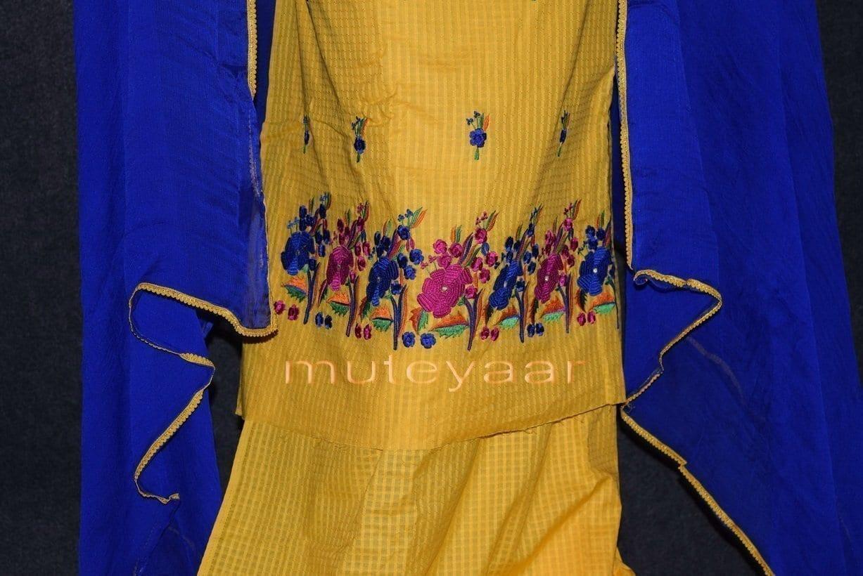 Thread Embroidered100% cotton Salwar Suit PURE CHIFFON Dupatta RM262 5