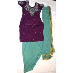 Neck Front & Back embroidered Salwar kameez Suit for Bhangra Giddha RMB264