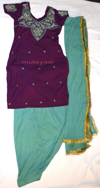 Neck Front & Back embroidered Salwar kameez Suit for Bhangra Giddha RMB264 1