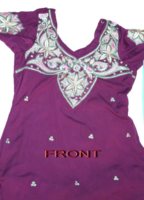 Neck Front & Back embroidered Salwar kameez Suit for Bhangra Giddha RMB264 2