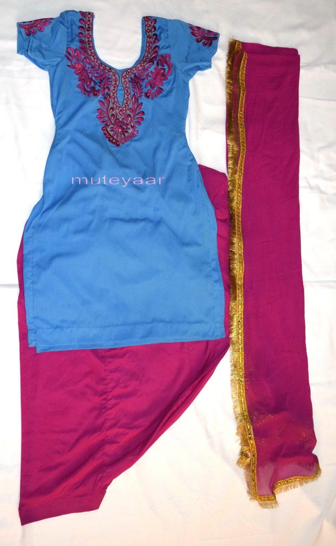 Neck Front & Back embroidered Salwar kameez Suit for Bhangra Giddha RMB267 1