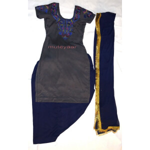 Neck Front & Back embroidered Salwar kameez Suit for Bhangra Giddha RMB268
