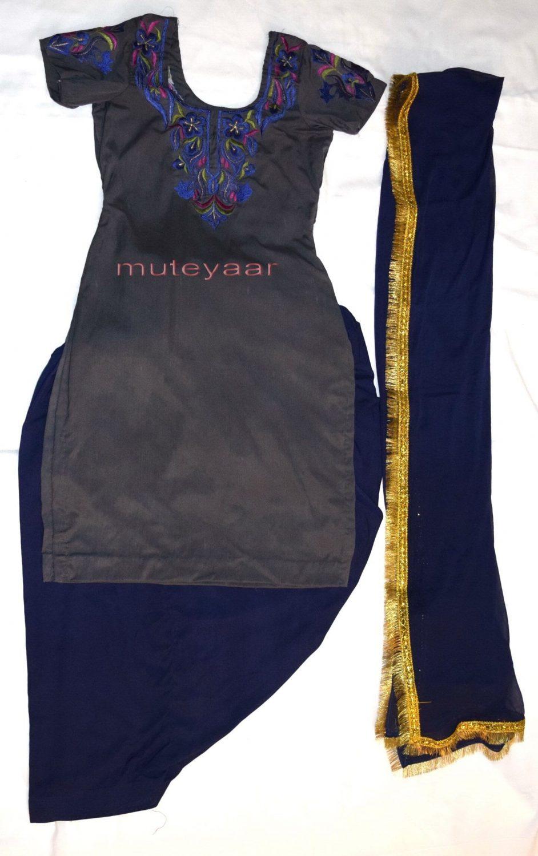 Neck Front & Back embroidered Salwar kameez Suit for Bhangra Giddha RMB268 1