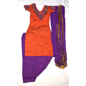 Neck Front & Back embroidered Salwar kameez Suit for Bhangra Giddha RMB269