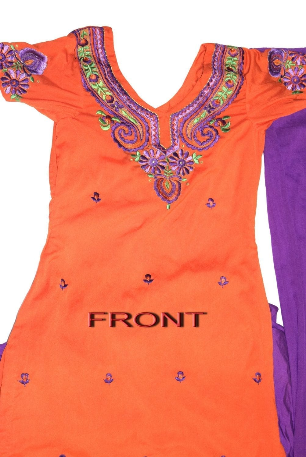 Neck Front & Back embroidered Salwar kameez Suit for Bhangra Giddha RMB269 2