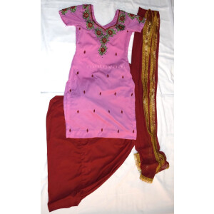 Neck Front & Back embroidered Salwar kameez Suit for Bhangra Giddha RMB270