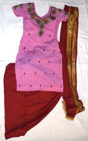 Neck Front & Back embroidered Salwar kameez Suit for Bhangra Giddha RMB270