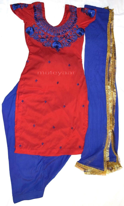 Neck Front & Back embroidered Salwar kameez Suit for Bhangra Giddha RMB271 1