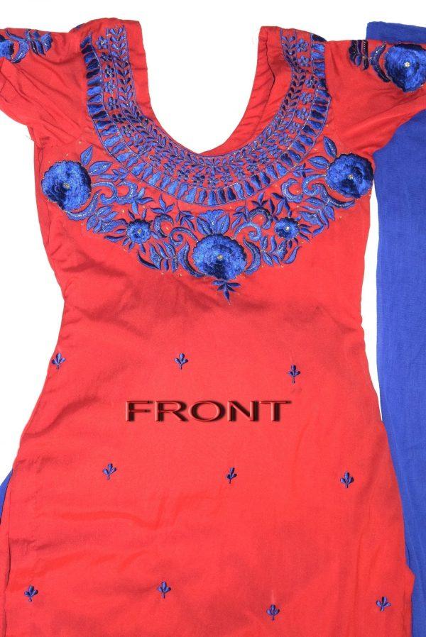 Neck Front & Back embroidered Salwar kameez Suit for Bhangra Giddha RMB271