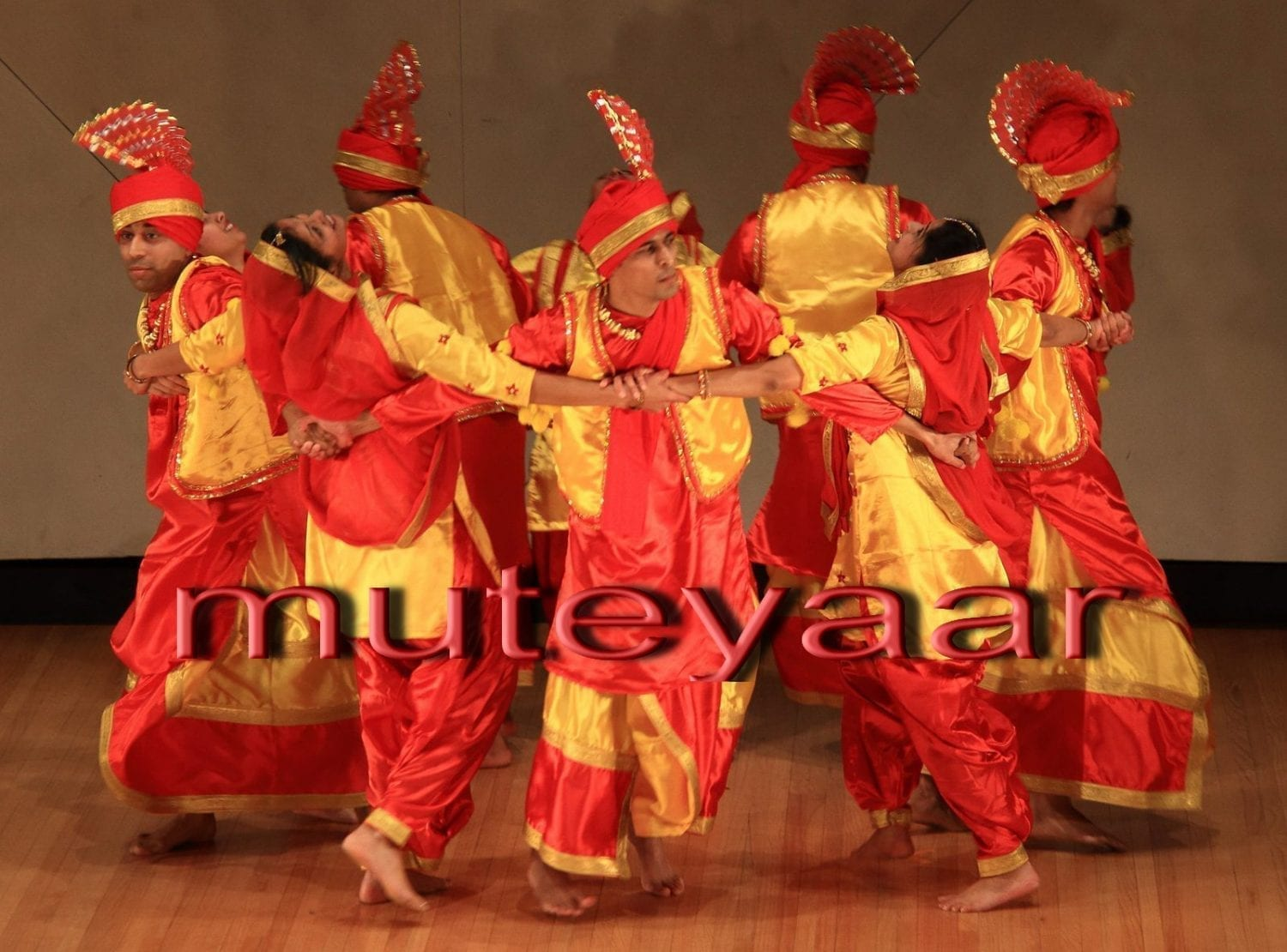 Red / Yellow Bhangra dance costume outfit dress - custom made 2