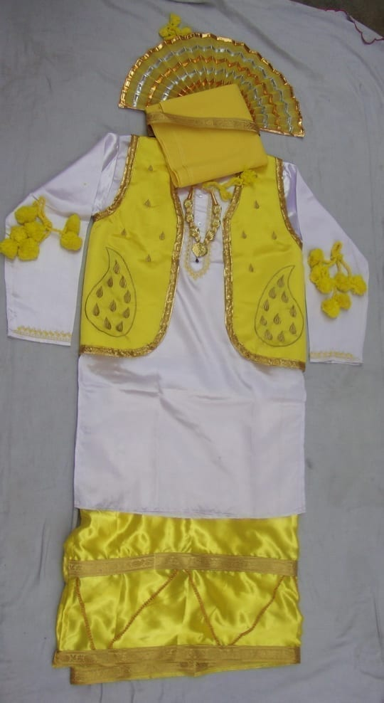 Yellow White Bhangra dance Costume / outfit dress 1