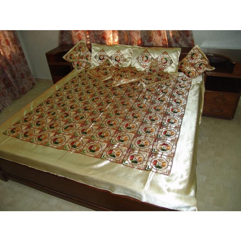 Glazed cotton Phulkari Hand Embr Bed Cover set of 8 pcs Z0031