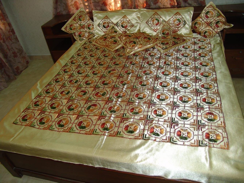 Golden Phulkari Bed Cover Set of 8 pcs Z0031 2