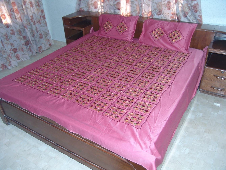 Pink Phulkari Bed Cover Set Glazed cotton bedsheet Z0039 1