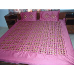 Pink Phulkari Bed Cover Set Glazed cotton bedsheet Z0039