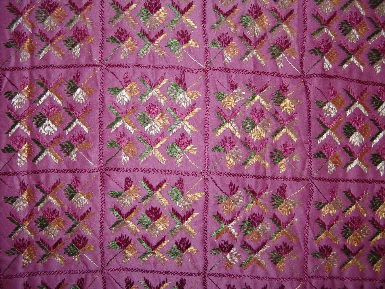 Pink Phulkari Bed Cover Set Glazed cotton bedsheet Z0039 3