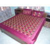 Maroon Glazed cotton Jaal Phulkari Hand Embr Bed Cover set Z0042